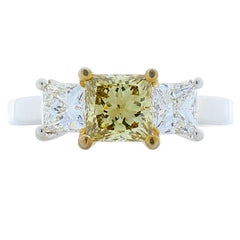 GIA Certified 1.04 Carat Princess Cut Fancy Brownish Yellow Diamond Ring in Plat