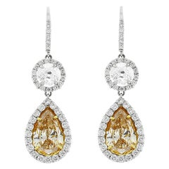3.51 Carat Pear Shape Fancy Yellow Diamond Dangle Earrings in Platinum