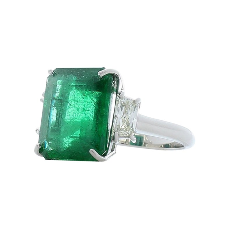 GIA Certified 8.39 Carat Emerald Cut Emerald and Diamond Cocktail Ring