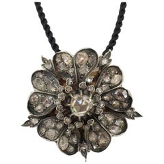 Antique Diamond Flower Pendant Brooch 6.95 Carat
