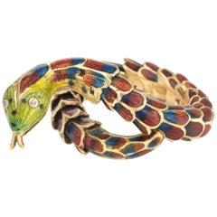 Vintage Snake Ring 18 Karat Gold Enamel Flexible Estate Fine Jewelry Scales