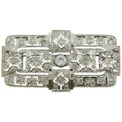 Art Deco Platinum Diamond Brooch, circa 1930s
