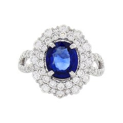 TGL Certified 2.32 Carat Oval Blue Sapphire and Diamond Cocktail Ring