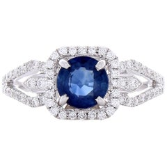 1.09 Carat Blue Sapphire and Diamond Cocktail Ring in 18 Karat White Gold