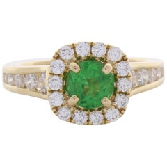 1.10 Carat Tsavorite and Diamond Cocktail Ring in 18 Karat Gold