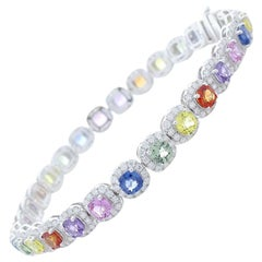 10.83 Carat Total Multi-Color Cushion Cut Sapphire and Diamond Bracelet in Gold
