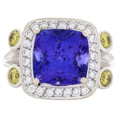6.35 Carat Cushion Cut Tanzanite and Diamond Cocktail Ring in 18 Karat Gold