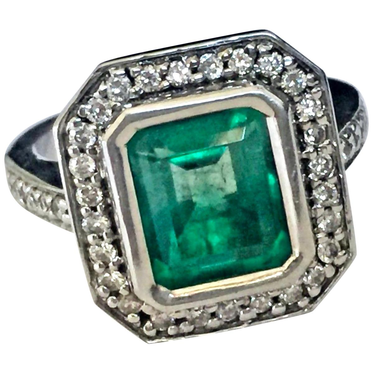 Colombian Emerald Diamond Art Deco Style Engagement Style Ring