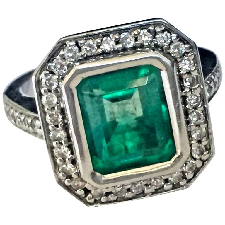 Colombian Emerald Diamond Art Deco Style Engagement Style Ring For Sale