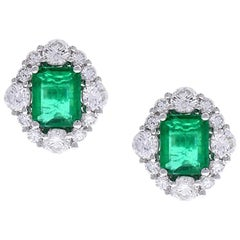 2.99 Carat Total Emerald Cut Emerald and Diamond Earrings in 18 Karat White Gold
