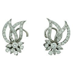 Platinum and Diamond Handmade Earrings, circa 1940s, 4.35 Carat