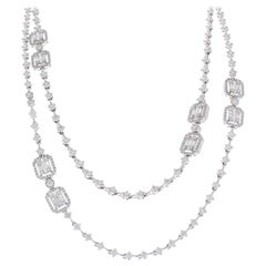 8.76 Carat Total Baguette and Round Diamond Necklace in 18 Karat White Gold