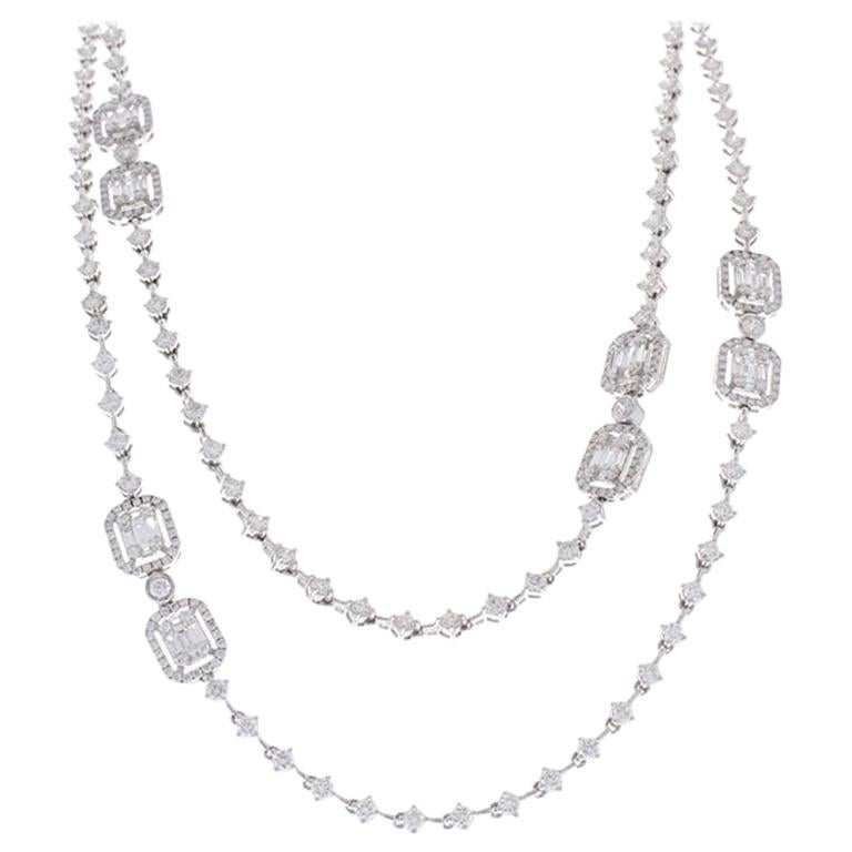 8.76 Carat Total Baguette and Round Diamond Necklace in 18 Karat White Gold For Sale