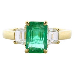 2.01 Carat Emerald Cut Emerald and Diamond Cocktail Ring in 18 Karat Yellow Gold