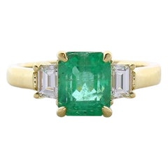 2.61 Carat Emerald Cut Emerald and Diamond Cocktail Ring in 18 Karat Gold