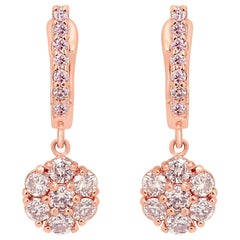 Natural Fancy Pink Diamond Round Cluster Gold Dangle Drop Earring