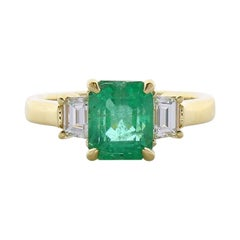2.14 Carat Emerald Cut Emerald and Diamond Cocktail Ring in 18 Karat Gold