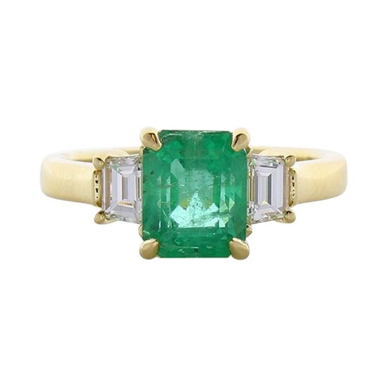 2.14 Carat Emerald Cut Emerald and Diamond Cocktail Ring in 18 Karat Gold For Sale