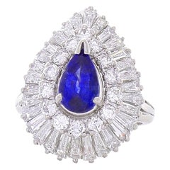 1.71 Carat Pear Shape Blue Sapphire and Diamond Cocktail Ring in Platinum
