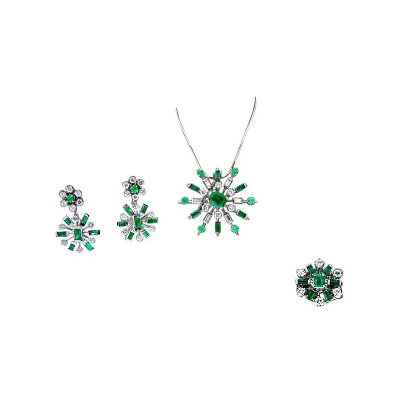 3.50 Carat Emerald and Diamond Set in 14 Karat White Gold