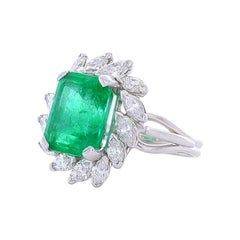 6.00 Carat Emerald Cut Emerald And Marquise Diamond Cocktail Ring In 18K Gold