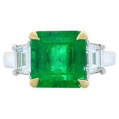 4.21 Carat Asscher Cut Emerald And Diamond Two Tone Cocktail Ring In 18K Gold