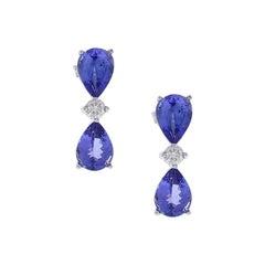 4.88 Carat Total Pear Shape Tanzanite and Diamond Earrings in 18 Karat Gold