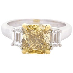 GIA Certified 3.00 Carat Cushion Cut Diamond Two Tone Cocktail Ring In 18K Gold