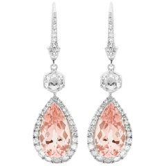 Morganite and Rose Cut Diamond Drop Earrings