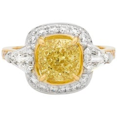 2.51 Carat Cushion Cut Yellow Diamond 18 Carat Yellow and White Gold Ring