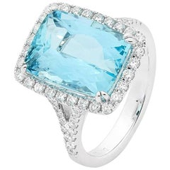 6.50 Carat Cushion Cut Aquamarine 18 Carat White Gold Diamond Halo Ring