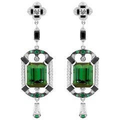 7.44 Carat Green Tourmaline 0.26 Carat Diamond Art Deco Drop Earrings