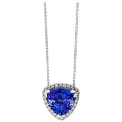 6.86 Carat Trilliant Tanzanite White Gold Diamond Halo Pendant