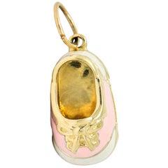 Contemporary 14 Karat Gold Pink Cream Enamel Saddle Shoe Charm