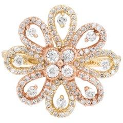Estate Diamond Cocktail Ring 1.10 Carat 14 Karat Gold Flower Design Fine Jewelry