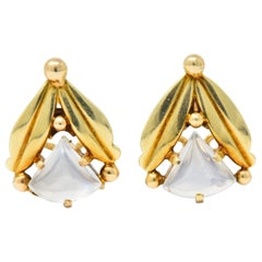 Art Nouveau Moonstone 14 Karat Gold Foliate Ear-clip Earrings