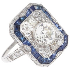 Art Deco Revival 1.01 Carat Old European Cut Diamond Sapphire Platinum Ring