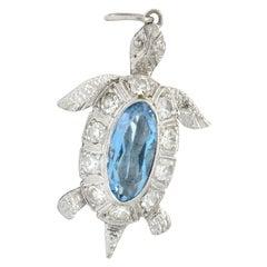 Art Deco 0.66 Carat Aquamarine Diamond Platinum Turtle Charm