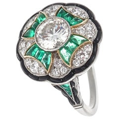 Art Deco Revival 1.12 Carat Diamond Emerald Onyx Platinum Cocktail Ring