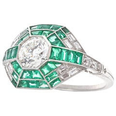 Art Deco Style Diamond Emerald Platinum Ring