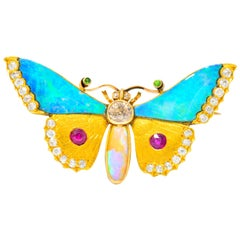 Victorian Opal Diamond Ruby Demantoid Garnet 14 Karat Gold Butterfly Brooch