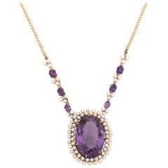 Vintage Amethyst Seed Pearl Necklace 14 Karat Gold Drop Estate Fine Jewelry