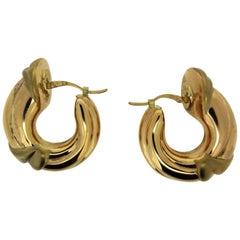 Charles Garnier Paris, 18 Karat Yellow Gold Hoop Earrings, circa 1980 NOS
