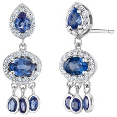 Diamond and Ceylon Sapphire Eighteen Karat Gold Earrings Weighing 3.70 Carat