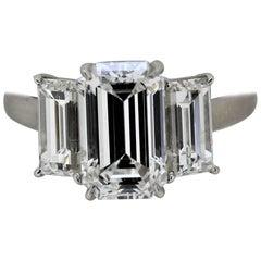 5.13 Carat Total Weight 3-Stone Emerald Cut Diamond Ring