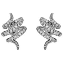 0.42 Carat White Diamond 18 Karat White Gold Çintemani Earring
