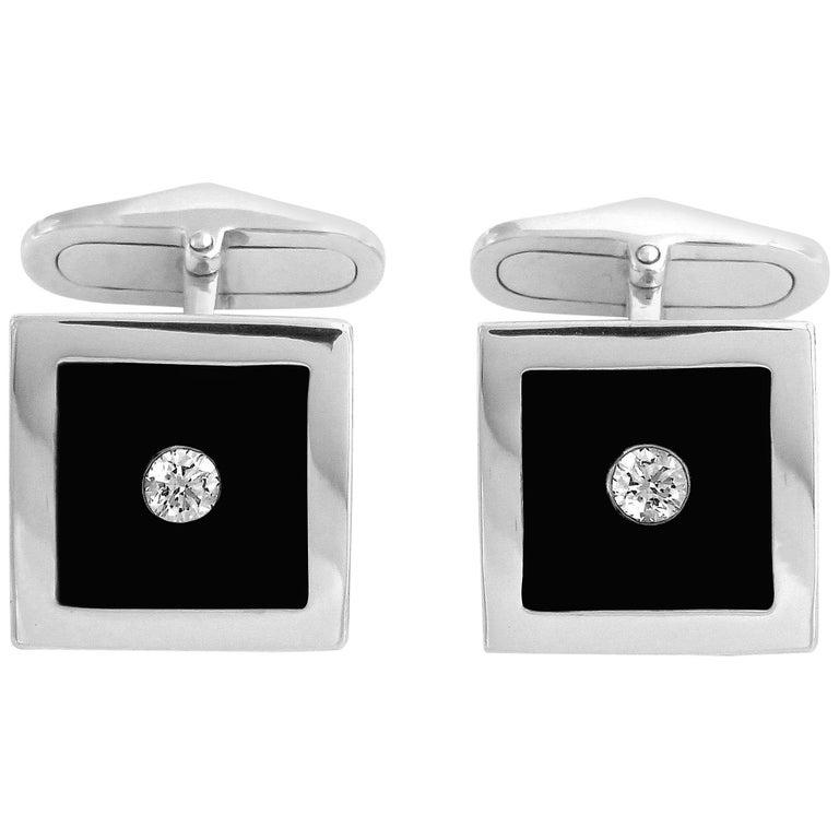 Diamond and Black Enamel Cufflinks in 18 Karat White Gold For Sale