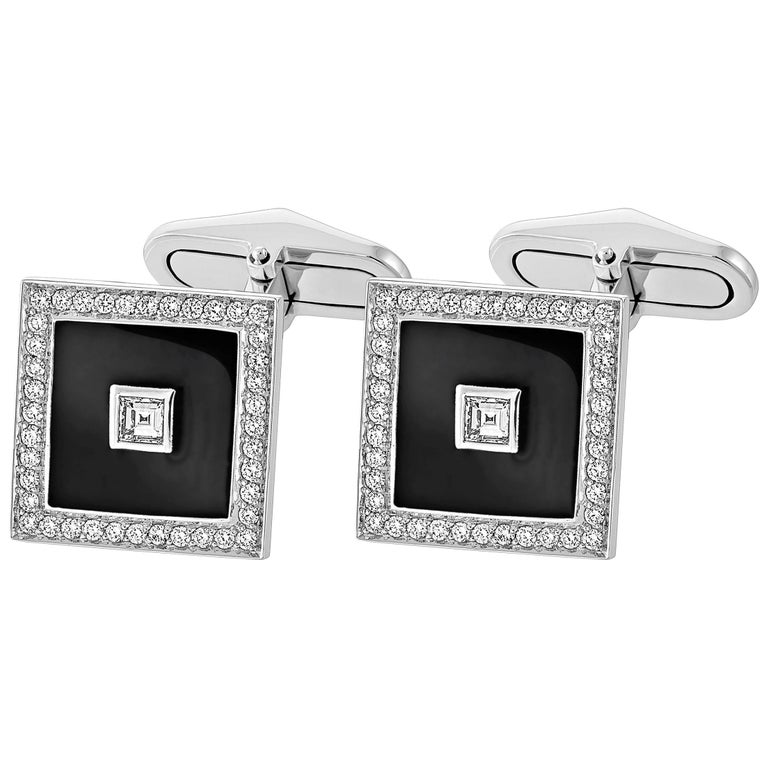 18 Carat White Gold Diamond Square Pave' and Black Enamel Cufflinks For Sale