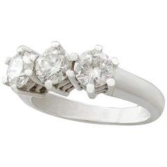 1980s 1.18 Carat Diamond White Gold Three-Stone Ring