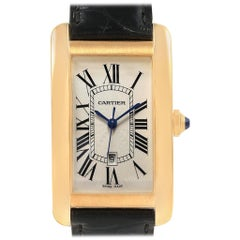 Cartier Tank Americaine 18 Karat Yellow Gold Automatic Men's Watch W2603156
